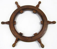 "Ships Steering Wheel 18"" Picture Photo Frame Teak Wooden Nautical Wall Decor"