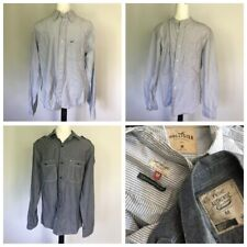 3 X Mens Casual Shirts HOLLISTER NEXT Laundered Cotton Stripe Chambray MEDIUM
