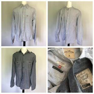 3 X Mens Casual Shirts HOLLISTER NEXT Laundered Cotton Stripe Chambray MEDIUM