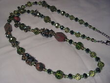 """...Silver Tone,Faceted Green Crystals,Unakite Gemstones Necklace..37.5"""" to 40.5"""""""