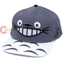 My Neighbor Totoro Face Sanpback Hat Trucker Flat Bill Cap Grey White