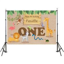 Cute Baby Birthday Background Animals Jungle Tree Flamingo Custom Backdrop 5*3ft