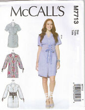 Button Front Collared ShirtDress Lace Up Wide Belt Sewing Pattern L XL XXL 16-26