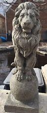 Lion On A Finial CEMENT STATUE CONCRETE Lawn Garden Decoration Ornament L@@K!