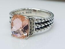 David Yurman Sterling Silver Petite Morganite & Diamond Wheaton Ring Size 6