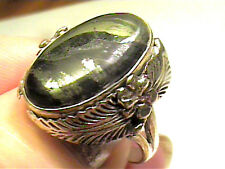 PYRITE STERLING SILVER 925 RING 8 RARE NATURAL ELEGANT COMPLEX OLD INDIAN RARE