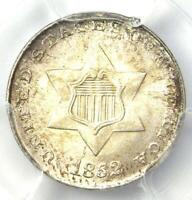 1852 Silver 3 Cent Coin (3CS) - Certified PCGS MS66+ Plus Grade - $2,250 Value!