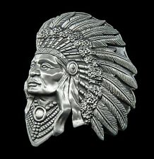 Native American Indian 3d Warrior Chief Head Belt Buckle Boucle de Ceinture