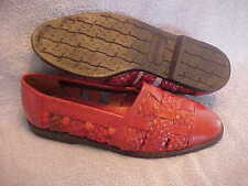Women's GIORGIO BRUTINI Red Braided Leather Flats Size 9 1/2 LN