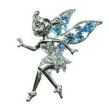 w Swarovski Crystal Aqua Blue ~Tinkerbell~ Fairy ANGEL Pixie Tink Brooch Jewelry