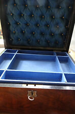 antique Victorian sewing work or jewellery box mahogany with key & lift out tray