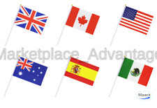 50 Countries International World Stick Flag,Hand Held Small Mini National Pen.