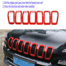 7pcs Front Grille Grill Trim Frame Accessories-Red fit Jeep Cherokee 2014-2018