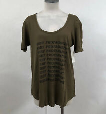 Obey Women's T-Shirt Worldwide Dissent Army Green Size S NWT Shepard Fairey