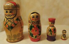 Vintage Ussr Soviet Union Hand-Painted Matryoshka Nesting Doll 4 piece set
