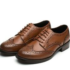 Womens Girl Leather Casual Flats Lace Up Oxford School Loafer Brogue Shoes Size