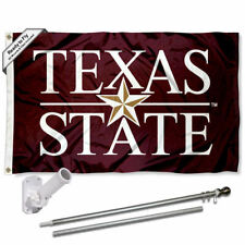 Texas State Bobcats Wordmark Flag Pole and Bracket Gift Set Package