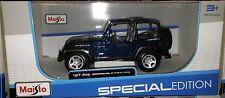Jeep Wrangler Rubicon 4x4 Die-cast Truck 1:27 Maisto 6 inch Blue