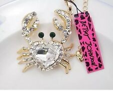 Betsey Johnson Necklace CRAB Clear Crystal Gold GOLD CRYSTALS Heart Crab Summer