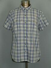 Eddie Bauer Womens Size L (43) White & Blue Plaid Short Sleeve Top 220-17094