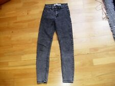 Ladies black acid wash high waisted skinny jeans size 6UK super condition