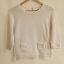 Tyler Boe White Cotton Rear Zipper Sweater - size Medium