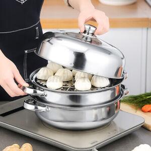 3Etage Dampfgarer Kochtopf Mantykocher Dampfkocher Gemüse Kartoffeldämpfer EF