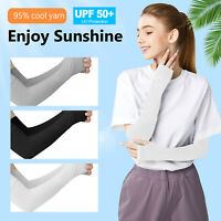 1-5 Pairs Cooling UV Sun Protection Arm Sleeves Ice Silk Cuffs Outdoor Women Man
