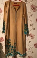 New PAKISTANI Khaadi Mustard Yellow Kurta Top Teal Floral Embroidery UK 14 L