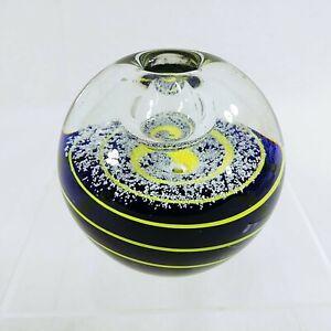"Glass Paperweight Taper Candleholder Blue Yellow Swirl Design 3 3/8"" Dia"