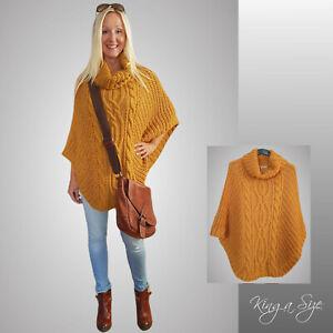 ITALY Style - Strick Poncho Pullover Kuschelweich Rollkragen | Honig Oversize