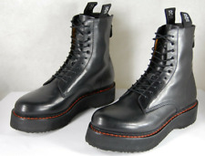 $1195 R13 BLACK Leather SINGLE Stack Flannel WOMEN Combat  Boots EU 41 US 11
