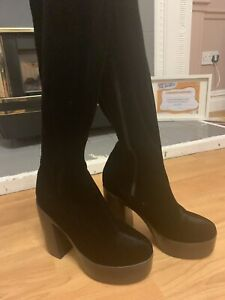 Black, Sexy, over knee boots size 4- Select