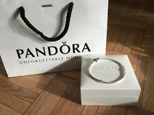 New Auth Pandora Sterling Silver Heart Clasp Bracelet Size 19 Plus Gift bag/Box