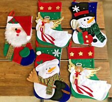 Christmas Stockings Set of 5 Handmade Felt Applique Santa Angel Snowman 14 inch