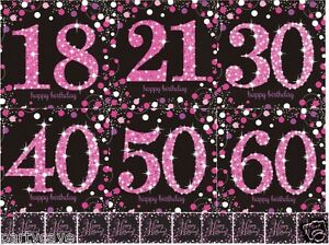 16 Sparkling Pink Black Happy Birthday Party Napkins 21st 30th 40th 50th 60th