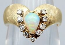VICTORIAN Solid 14k Yellow Gold / Opal / Diamonds Ladies Ring Size 6