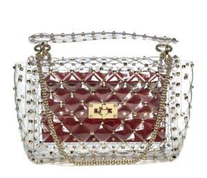 VALENTINO Rockstud Spike Flap Bag Quilted Clear PVC Medium Crossbody Handbag