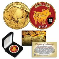 2019 Lunar YEAR OF THE PIG 24K Gold Clad $50 American Buffalo Tribute Coin BOX