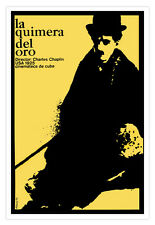 Silent Movie Poster.GOLD QUIMERA.Chaplin.Home & office interior wall decoration.