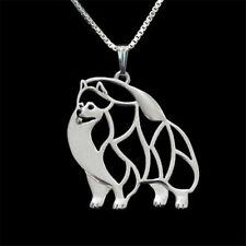 Pomeranian Dog Necklace Artistic Silver Plate Pendant Pom Pet Velvet Gift Box