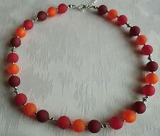 Perlen Kette Halskette Collier Polarisperlen rot orange dunkelrot Silber NEU