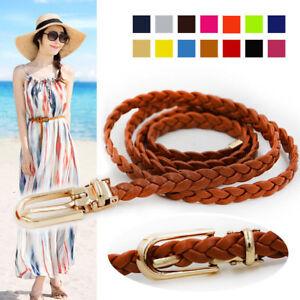 Womens Lady Thin Skinny Waist Belt Braided Pin Buckle Weaved Waistband Belts New
