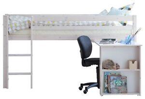 Hochbett Flexa 90x200cm + Schreibtisch Kinderbett Jugendbett Etagenbett  weiß