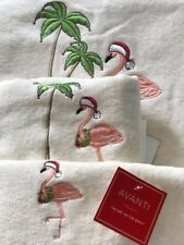 3 Piece Christmas 100% Cotton Velour Embroidered Pink Flamingo Bath Towels