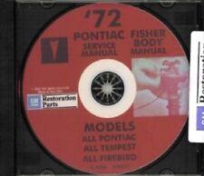PONTIAC 1972 Bonneville, Catalina, GTO, Tempest, Fire Bird Shop & Body Manual CD