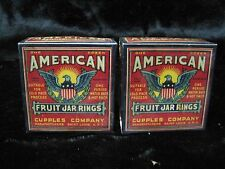 (2) Boxes Vintage Cupples American Fruit Canning Jar Rings Rings - Sealed B6040