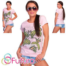 Casual T-Shirt 56 Colour Print Crew Neck Short Sleeve Party Top Sizes 8-14 FB152