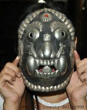 Collect Rare Tibet Wood Inlay Silver Exorcism Skull Arhat Head Vizard Mask Masks