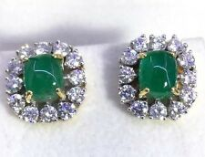 VIVID GREEN! 4.54TCW COLOMBIAN EMERALD & DIAMONDS 18K SOLID GOLD EARRINGS STUD